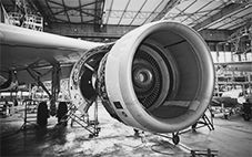 jet turbine engine being tested for vibration