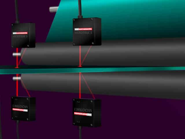 Mikrotrak Lasers set up to measure thickness of extruded sheet metal
