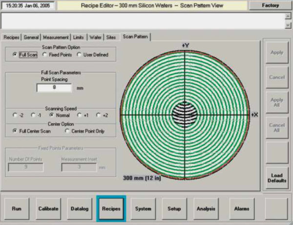 View of software scan pattern for silicon wafer measurement