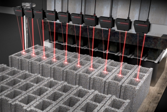 Laser measuring hollow blocks