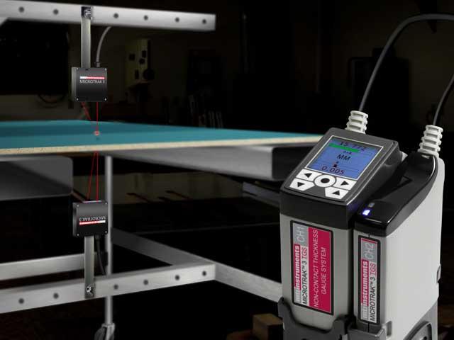 Board thickness using laser sensors