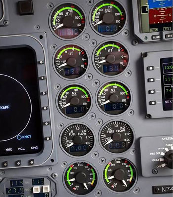 shaft speeds monitored in aircraft cockpit