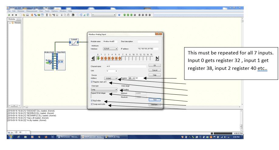Modbus Input module configuration