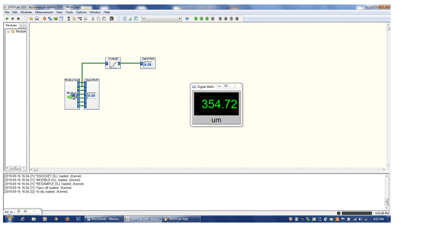 Fig 3 . Minimize the 6 channel meter (meter 00) and add a scaling box and another digital meter (01)